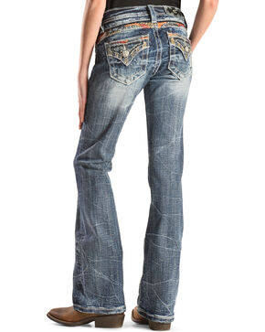 Miss Me Girls' Embroidered Back Yoke and Flap Pocket Jeans - Boot Cut , Denim, hi-res