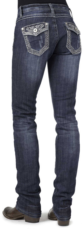 Stetson 541 Stovepipe Rhinestone Flap Pocket Jeans, Denim, hi-res