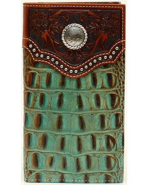Nocona Men's Rodeo Croc Rawhide Wallet, Tan, hi-res