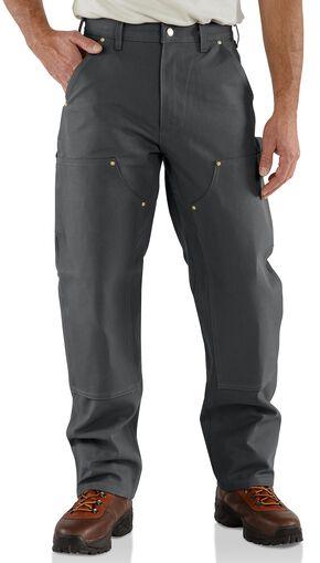 Carhartt Firm Duck Double-Front Work Dungaree Pants, Grey, hi-res