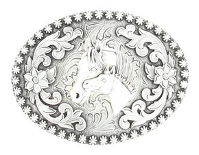 Silver-tone Floral & Mare Belt Buckle, Silver, hi-res