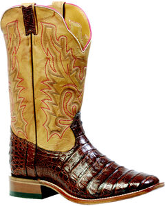 "Boulet Barnwood 13"" Caiman Belly Boots - Square Toe, , hi-res"