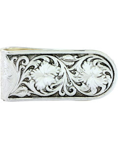 Montana Silversmiths Men's Antiqued Sheridan Rose Money Clip, , hi-res