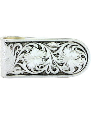 Montana Silversmiths Men's Antiqued Sheridan Rose Money Clip, Silver, hi-res