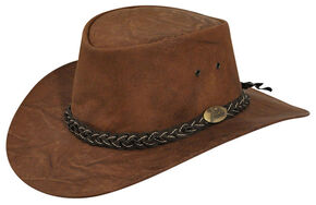 Jacaru Men's Wallaroo Suede Outback Hat, Brown, hi-res