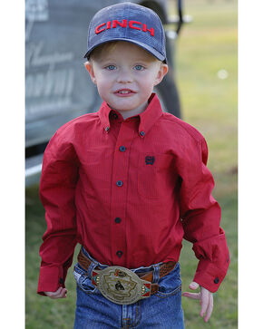 Cinch Toddler Boys' Red Button Down Western Shirt , Red, hi-res
