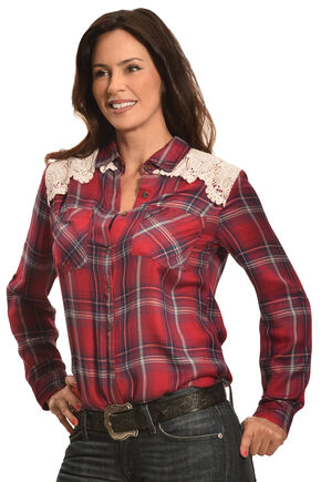 New Direction Sport Women's Red Plaid Lace Western Shirt , Red, hi-res