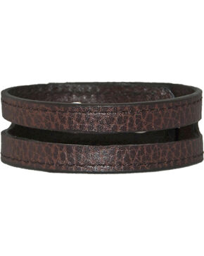 Stetson Brown Leather Cut-Out Wristband, Brown, hi-res