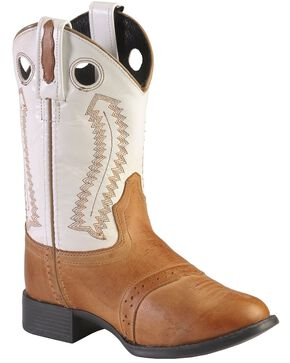 Old West Children's Ultra Flex Western Boots - Round Toe, Tan, hi-res