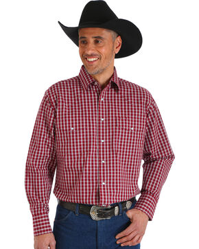 Wrangler Men's Wrinkle Resistant Burgundy Plaid Western Snap Shirt - Big & Tall, Burgundy, hi-res