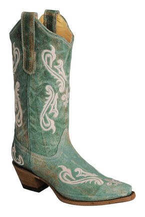 Corral Cortez Fleur-De-Lis Turquoise Cowgirl Boots - Snip Toe, , hi-res