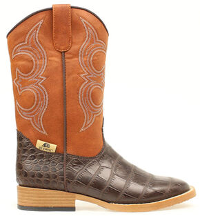 Double Barrel Youth Boys' Gator Print Boots - Round Toe, Brown, hi-res