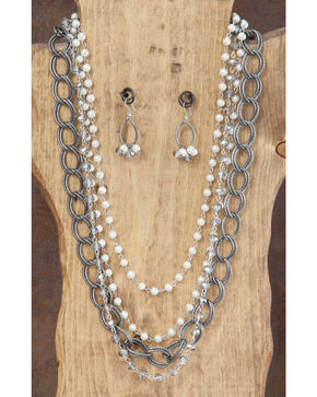 West & Co. Multi-Strand Pearl & Chain Necklace & Earrings Set, Silver, hi-res