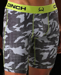 "Cinch Men's Black Print 9"" Boxer Briefs , , hi-res"