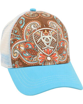 Ariat Women's Western Paisley Ballcap, Blue, hi-res