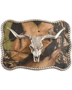 Nocona Mossy Oak Longhorn Skull Buckle, , hi-res