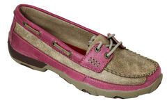 Twisted X Women's Tan and Pink Driving Mocs, , hi-res