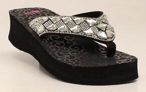 Blazin Roxx Women's Colby Flip Flops, Black, hi-res