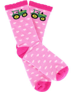 John Deere Girls' Hearts and Tractor Socks, , hi-res
