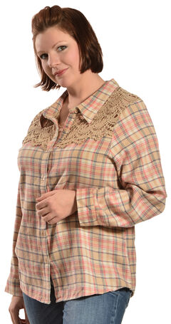 Red Ranch Women's Long Sleeve Crochet Flannel Tan Plaid Shirt - Plus, , hi-res