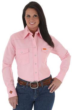 Wrangler Women's Lightweight Flame Resistant Pink Long Sleeve Shirt, , hi-res