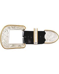 Montana Silversmiths Engraved with Gold Trim 3-Piece Belt Buckle Set, , hi-res