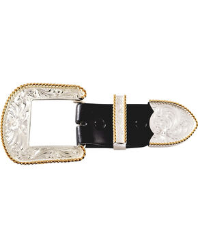 Montana Silversmiths Engraved with Gold Trim 3-Piece Belt Buckle Set, Silver, hi-res