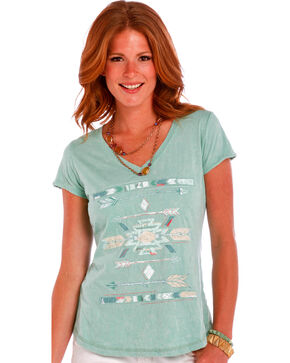 Panhandle Slim Women's Light Green Lace Inset Arrow Graphic Shirt , Lt Green, hi-res