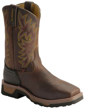 Tony Lama Men's TLX Saddle Pull-On Work Boots - Composition Toe, Bark, hi-res