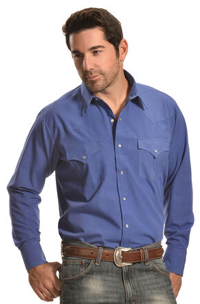 Ely Cattleman Men's Blue Western Snap Shirt, Blue, hi-res