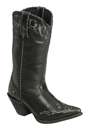 Durango Faux Leather Laced Cowgirl Boots - Pointed Toe, Black, hi-res