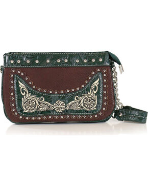 Savana Women's Embroidered Green Trim Wristlet , Green/brown, hi-res