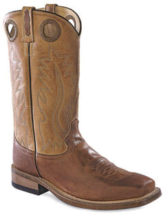 Old West Men's Round Hole Two-Tone Western Cowboy Boots - Square Toe, , hi-res