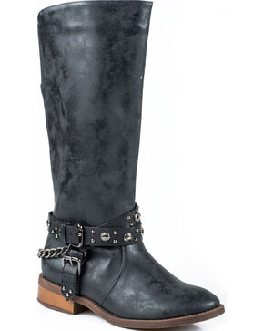 Roper Black Studded Riding Strap Cowgirl Boots - Round Toe, Black, hi-res