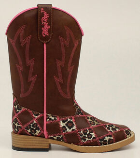 Blazin Roxx Youth Girls' Miley Patchwork Boots - Square Toe, Brown, hi-res