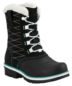 Ariat Black Whirlwind Cozy Lace-Up Cowgirl Boots - Round Toe, Black, hi-res