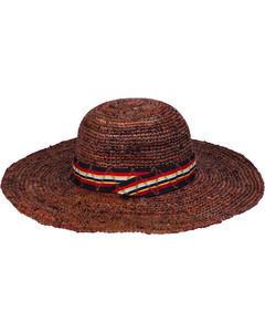 "Peter Grimm Marcella 4 1/2"" Striped Band Dark Brown Raffia Straw Sun Hat, , hi-res"