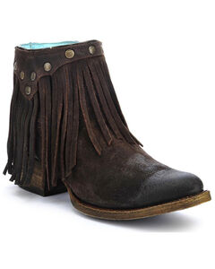 Corral Fringe Ankle Boots - Round Toe, , hi-res