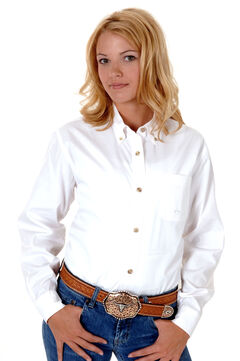 Roper Women's Amarillo Solid Button-Down Poplin Shirt - Plus, , hi-res