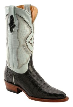 Ferrini Powder Blue Caiman Belly Cowgirl Boots - Snip Toe, , hi-res