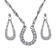 Montana Silversmiths Crystal Clear Lucky Horsehoe Necklace & Earrings Set, , hi-res