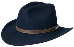 Black Creek Men's Crushable Wool Navy Hat, Navy, hi-res