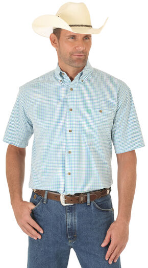 Wrangler Men's Multi Plaid George Strait Short Sleeve Shirt - Big and Tall, Multi, hi-res