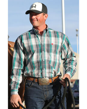 Cinch Men's Green and Grey Plaid Contrast Western Shirt, Green, hi-res