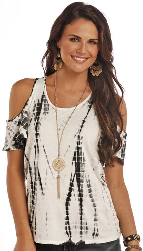 Rock & Roll Cowgirl Women's Natural Cold Shoulder Tie-Dye Shirt , Natural, hi-res