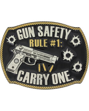 Montana Silversmiths Men's Silver Gun Safety Belt Buckle , Silver, hi-res