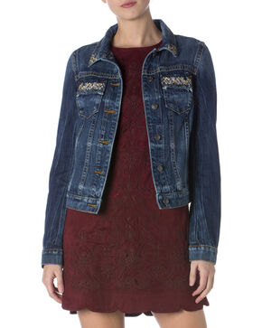 Miss Me Women's Glitterati Denim Jacket, Indigo, hi-res