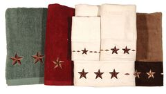 Three-Piece Embroidered Star Bath Towel Set - Brown, , hi-res
