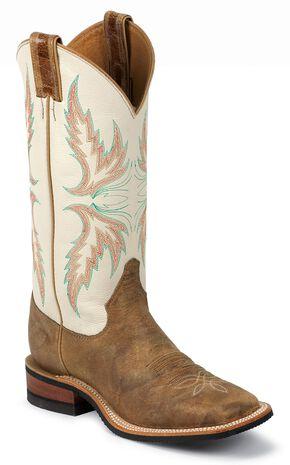 Justin Bent Rail Ivory Puma Cowgirl Boots - Square Toe, Tan, hi-res