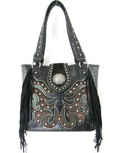 Savana Women's Concealed Carry Hair-on Hide Tooled Tote Bag, , hi-res